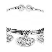 Chunky Floral Oxidized Silver Charm Bracelet