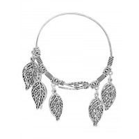 Adjustable Oxidized Silver Bracelet with Chunky Leaves Charms