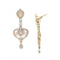 American Diamond Heart Dangle Earrings with Pearls