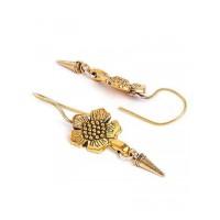 Short Golden Flower Earrings For Women