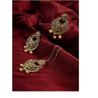 Golden Kundan Embellished With Hanging Rose Gold Pearls Golden Earrings and Maang Tika Jewellery Set for Wedding