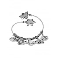 Adjustable Oxidized Silver Bracelet with Globe Charms