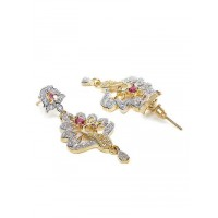American Diamond Peacock Earrings with Red Stones