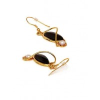 Entangled In Love Black Onyx And Pearl Fashion Party Wear Earrings