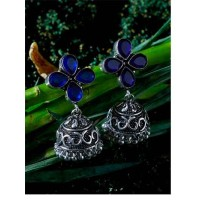 Brass Based Oxidized Silver Jhumkis Embellished With Four Blue Stones