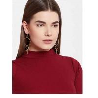 Long Hoop Earrings in Gold Color