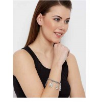Oxidized Silver Leaves Charm Bracelet