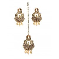 Alluring Rose Gold Stone Studded with Hanging Pearls golden Earrings and Maang Tika Jewellery Set for Wedding