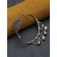 Adjustable Oxidized Silver Bracelet with Teapot Charms