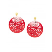 Combo of Red Disc Earrings and Golden Hoops Earrings