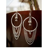 Vintage Silver Metallic Bells and Chain Western Earrings With Beaded Bali