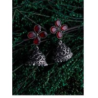 Brass Based Oxidized Silver Jhumkis Embellished With Four Deep Red Colored Stones