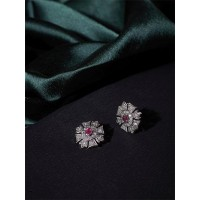 American Diamond Flower Stud Earrings with Red Stone