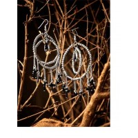 Hanging Black Beads with Layered Silver Balis Western Earrings