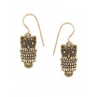 Short Golden Owl Earrings