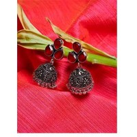 Brass Based Oxidized Silver Jhumkis Embellished With Maroon Stones