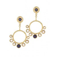 Lapis Pearl Golden Semi Precious Handmade Jewellery Earrings