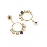 Lapis Pearl Golden Semi Precious Handmade Jewellery Earrings
