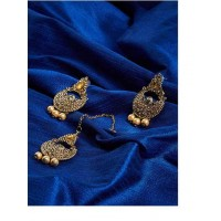 Vintage Style Ethnic Stone Studded Chandbali Earrings with Maang Tika Jewellery Set for Wedding
