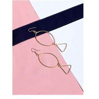 Oval Artificial Hoop Earrings in Gold Color