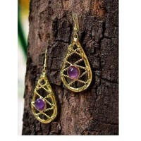 Purple Amethyst Stone Semi Precious Handmade Jewellery Earrings