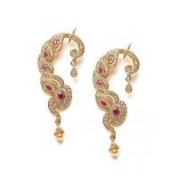 American Diamond Designer Earcuffs with Red Stones