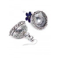 Floral Silver Plated Brass Jhumkis With 5 Navy Blue Stones