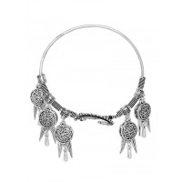 Adjustable Oxidized Silver Bracelet with Coins and Leaves Charms