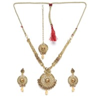 Rose Gold Stone Studded with Hanging Pearl Traditional Golden Necklace Jewellery Set for Wedding
