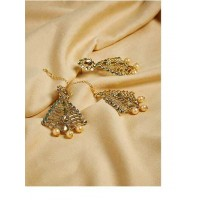 Vintage Kundan and Stone Studded with Rose Gold Pearl Golden Earrings and Maang Tika Jewellery Set for Wedding