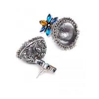 Silver Plated Brass Jhumkis With 5 Multicolored Stones