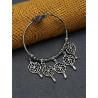 Adjustable Oxidized Silver Bracelet With Designer Chunky Charms