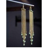 Sea Green Hanging Beads And Golden Chains Western Earrings