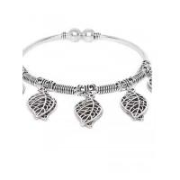 Oxidized Silver Leaf Charm Bracelet
