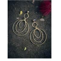 Multi Layered Hoop Earrings in Gold Color