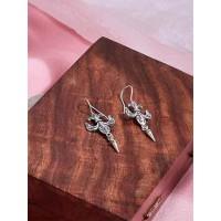 Short Silver Oxidized Earrings