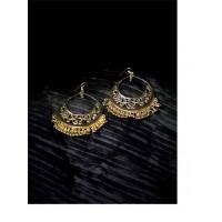 Golden Drop Hangings Western Earrings With Metallic Golden Bali