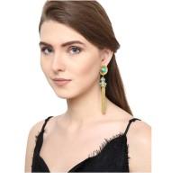Turquoise Brass Tassel Drop Handmade Jewellery Earrings
