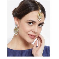 Stunning Stone Studded, Kundan and Pearl Golden Earrings and Maang Tika Jewellery Set for Wedding