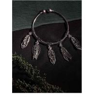Classic Oxidized Silver Leaves Charm Bracelet