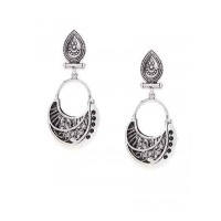 Floral Oxidized Silver Dangler Earrings