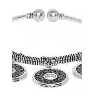 Oxidized Silver Disc Charm Bracelet