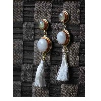 White Agate Prehnite Semi Precious Handmade Jewellery Earrings