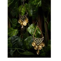 Hanging Golden Flowers Sassy Western Earrings