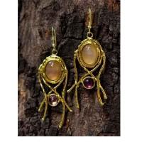 Golden Rose Quartz Amethyst Designer Brass Earrings