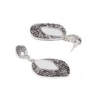 Oxidized Silver Short Mirror Dangler Earrings