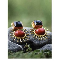Red Jasper and Black Onyx Faceted Semi Precious Handmade Jewellery Earrings