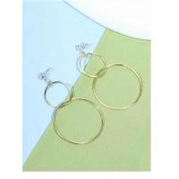 Long Geometrical Hoop Earrings in Gold Color