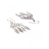 Silver Oxidized Long Earrings With Floral Embellishments and Hanging Leaves