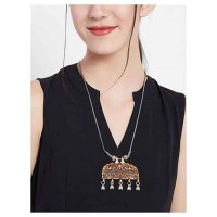 Red and Golden Floral Motifs Oxidized Tribal Jewellery Fashion Necklace